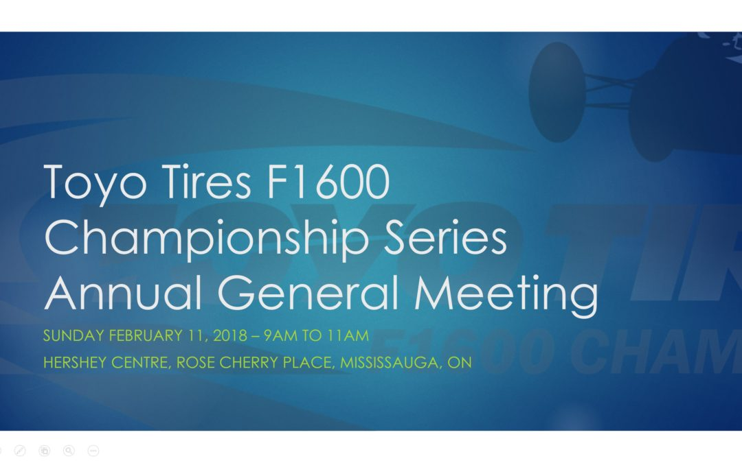 Formula 1600 Series AGM Announced for February 11, 2018